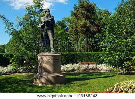 BURGAS BULGARIA - JULY 01 2014: The monument to poet Alexander Pushkin in the city park of Burgas in the summer clear day.