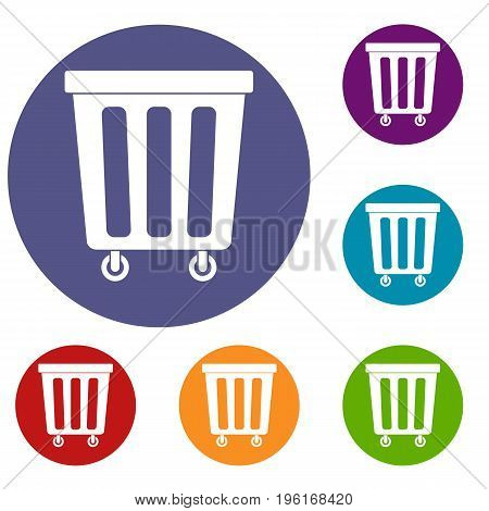 Outdoor plastic trash can icons set in flat circle red, blue and green color for web