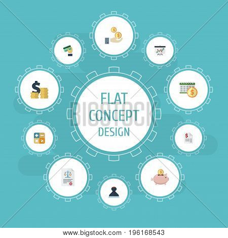 Flat Icons Profit, Coins Pile, Mark And Other Vector Elements