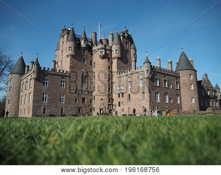 Glamis castle in Scotland in a lovely day