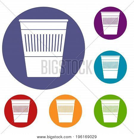 Plastic office waste bin icons set in flat circle red, blue and green color for web