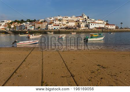 FERRAGUDO, PORTUGAL - APRIL 24, 2017: Picturesque view of Ferragudo fishing village in Algarve, Portugal