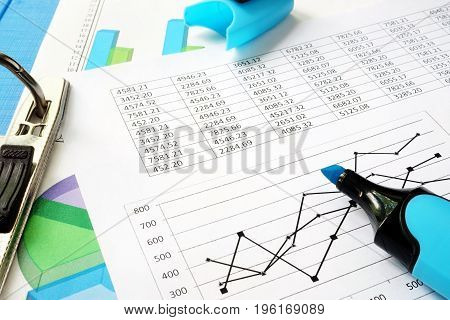 Accountability concept. Financial documents in an office.