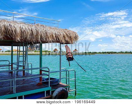 Tung Kula lake in Surin city blue sky Turquoise lake