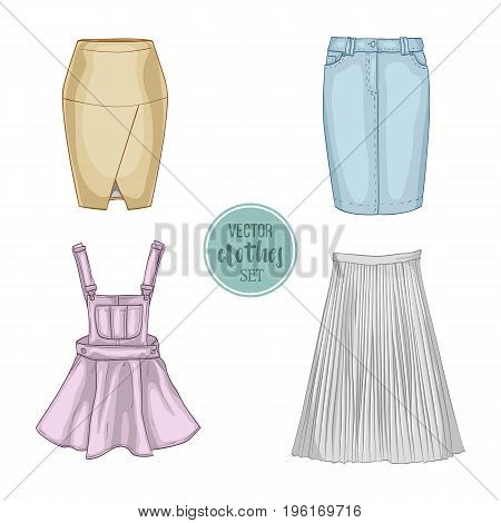 Color set of woman casual skirts and overall dress. Simple flat vector illustration
