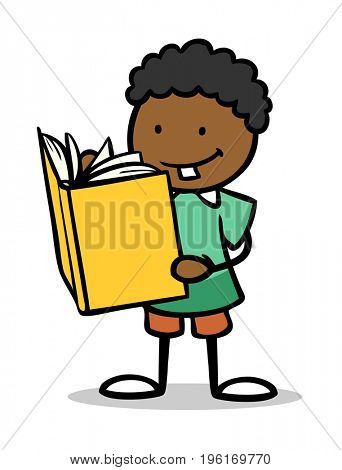 Cartoon of african child reading a book for school