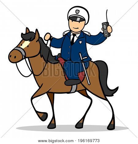 Police officer or policeman on a horse from the horse unit on emergency call