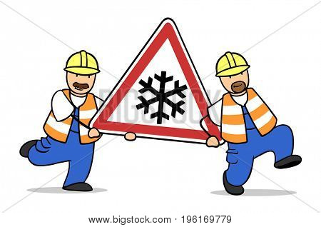 Two construction workers holding road sign with snowflake on it as snow precaution concept