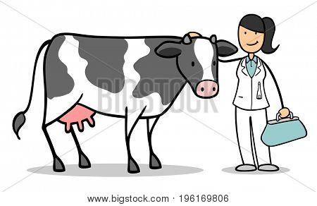 Cartoon of woman as veterinarian of  large animal practice with milk cow