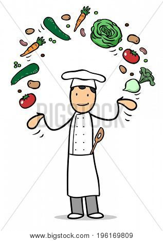 Cartoon of chef or cook with fresh vegetables as vegan and healthy nutrition concept