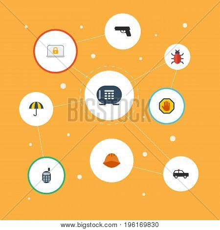 Flat Icons Hardhat, Gun, Safe And Other Vector Elements