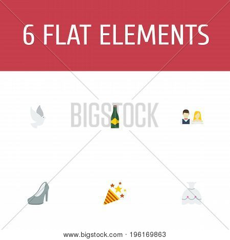Flat Icons Couple, Fizz, Pigeon And Other Vector Elements