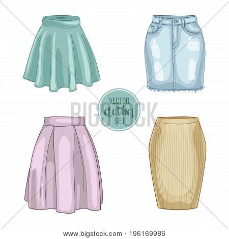 Color set of woman casual skirts. Simple flat vector illustration