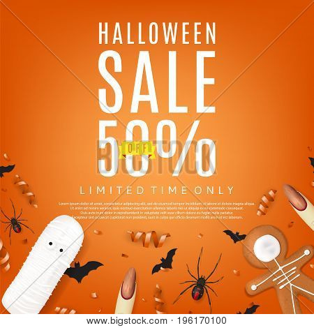 Beautiful orange background for halloween sale. Top view on paper bats, confetti and spiders. Vector illustration with cookies in form of skeleton gingerbread man. Special seasonal offer.