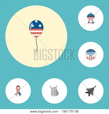 Flat Icons Usa Badge, Barbecue, Decoration And Other Vector Elements