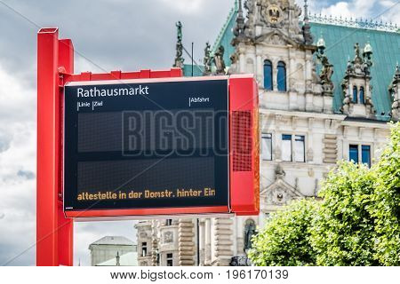 HAMBURG , GERMANY - JULY 14, 2017: Electronic sign showing that the bus stop Rathausplatz can not be served due to the road block