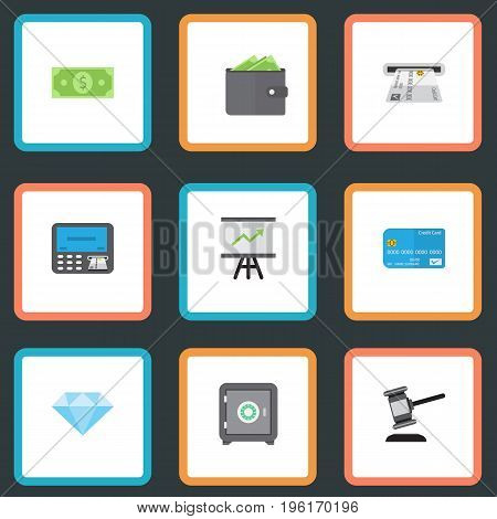 Flat Icons Jewel Gem, Payment, Verdict And Other Vector Elements