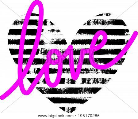 Vector illustration of a striped textured heart. Hand drawn paint texture. Lettering love.