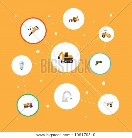 Flat Icons Pneumatic, Excavator, Van And Other Vector Elements