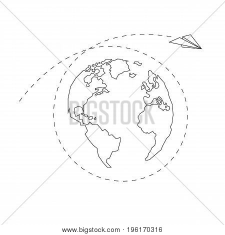 Paper airplane around the globe. America Europe Atlantic Ocean Africa. Dotted line. Contour continents. Vector illustration. White background. Eps10.