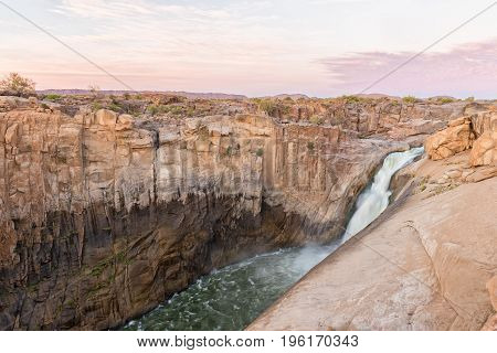 The main Augrabies waterfall at sunset Northern Cape Province of South Africa