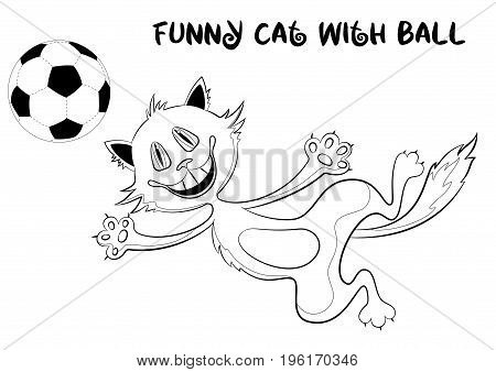 Cartoon Cat, Funny Pet, Smiling and Jumping for a Soccer Ball, Black Contour Illustration Isolated on White Background. Vector
