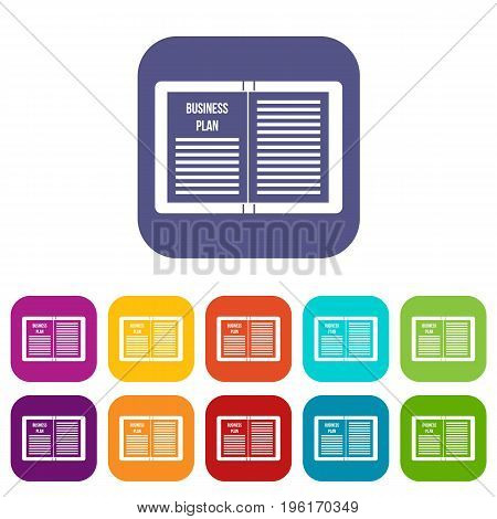 Business strategy plan icons set vector illustration in flat style in colors red, blue, green, and other