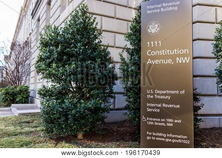 Washington Dc, Usa - January 28, 2017: Irs Internal Revenue Service Building With Sign