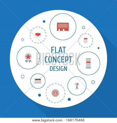 Flat Icons Journal, Letter, Monitoring And Other Vector Elements