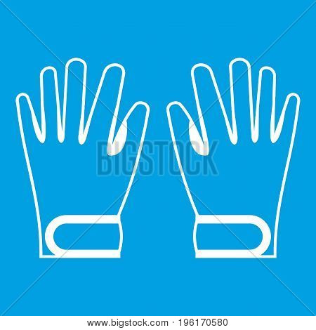 Winter gloves icon white isolated on blue background vector illustration