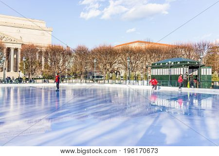 Washington Dc, Usa - January 28, 2017: Ice Rink Tested By Workers For Skating In National Gallery Of
