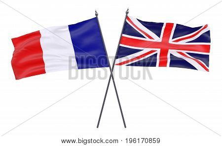 France and Great Britain, two crossed flags isolated on white background. 3d image