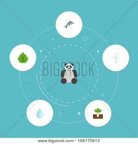 Flat Icons Sprout, Water, Bear And Other Vector Elements