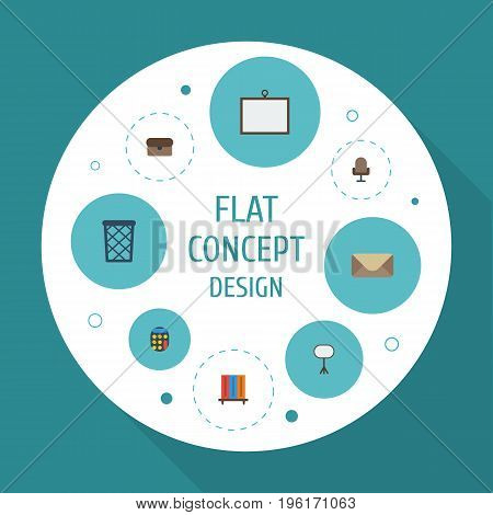 Flat Icons Armchair, Letter, Board Stand Vector Elements