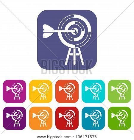 Target with an arrow icons set vector illustration in flat style in colors red, blue, green, and other