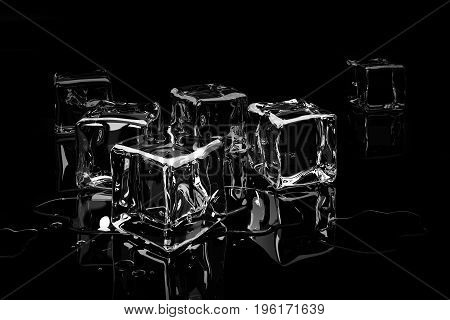 Scattered ice cubes on a dark glossy background in droplets of water. 3d Illustration
