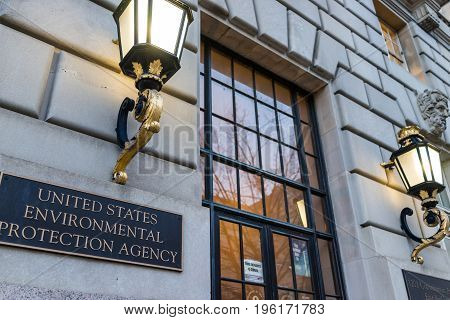 Washington Dc, Usa - January 28, 2017: Environmental Protection Agency Epa Headquarters