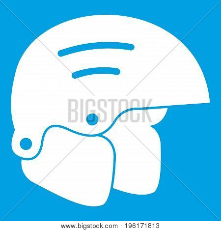Snowboard helmets icon white isolated on blue background vector illustration