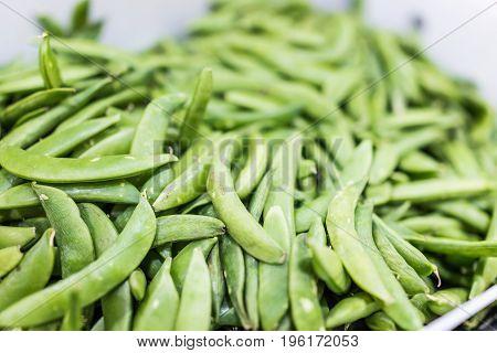 Stale sugar snap peas macro closeup on display