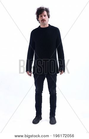 Man Standing And On A White Background