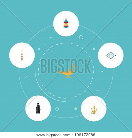 Flat Icons Genie, Islamic Lamp, Mosque And Other Vector Elements
