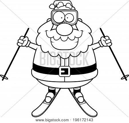 Cartoon Santa Claus Skiing