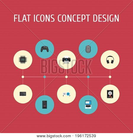 Flat Icons System Unit, Presentation, Monitor And Other Vector Elements