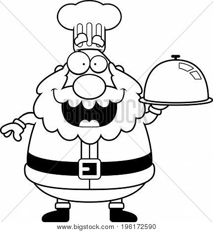 Cartoon Santa Claus Chef Serving