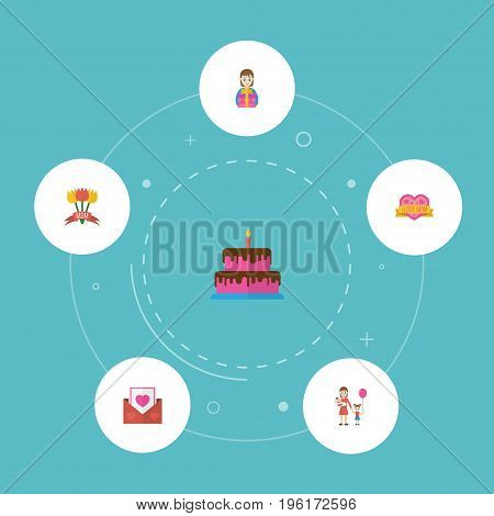 Happy Mother's Day Flat Icon Layout Design With Pastry, Gift To Mom And Tulips Symbols