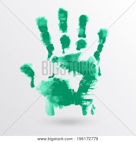 Vector ink paint human hand or handprint on white background. Painted hands colorful fun. Creative funny and artistic illustration.