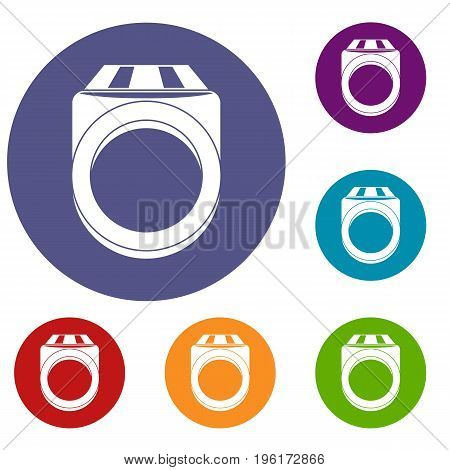 Ring icons set in flat circle red, blue and green color for web