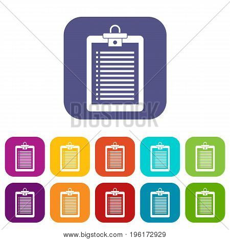 Clipboard with check list icons set vector illustration in flat style in colors red, blue, green, and other