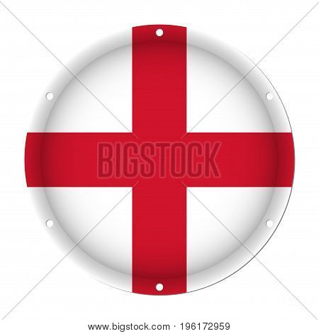 round metallic flag of England with six screw holes in front of a white background