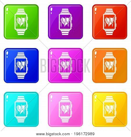 Smartwatch with sport app icons of 9 color set isolated vector illustration